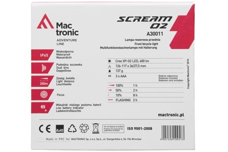 Lampa przód SCREAM 02 Mactronic 400 lm a30011